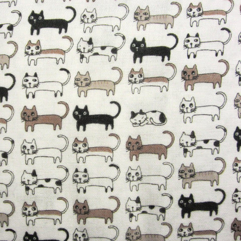 Fabric - Cute Cats - Cotton Double Gauze