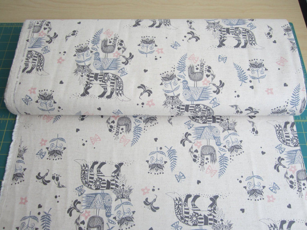 Fabric - Foxes (Beige) - Cotton / Linen
