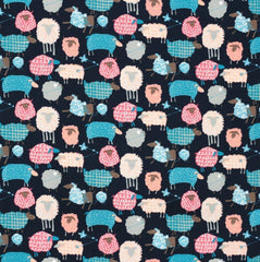 Fabric - Kawaii Sheep (Navy) - Oxford Cotton