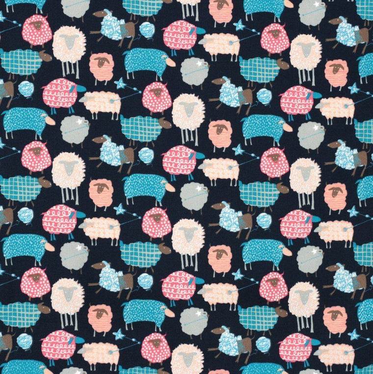 Kawaii Sheep (Navy) - Oxford Cotton