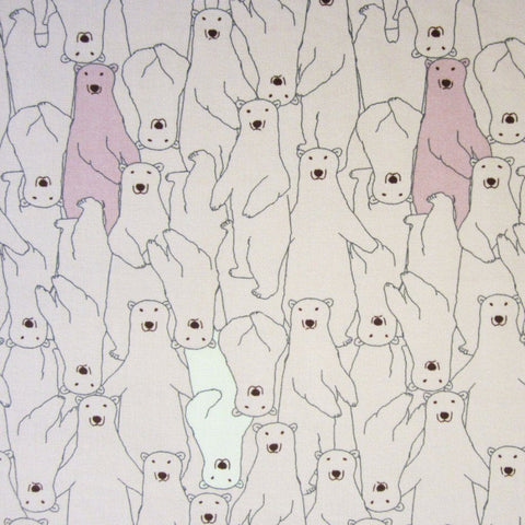 Fabric - Polar Bears (Pink) - Cotton Canvas