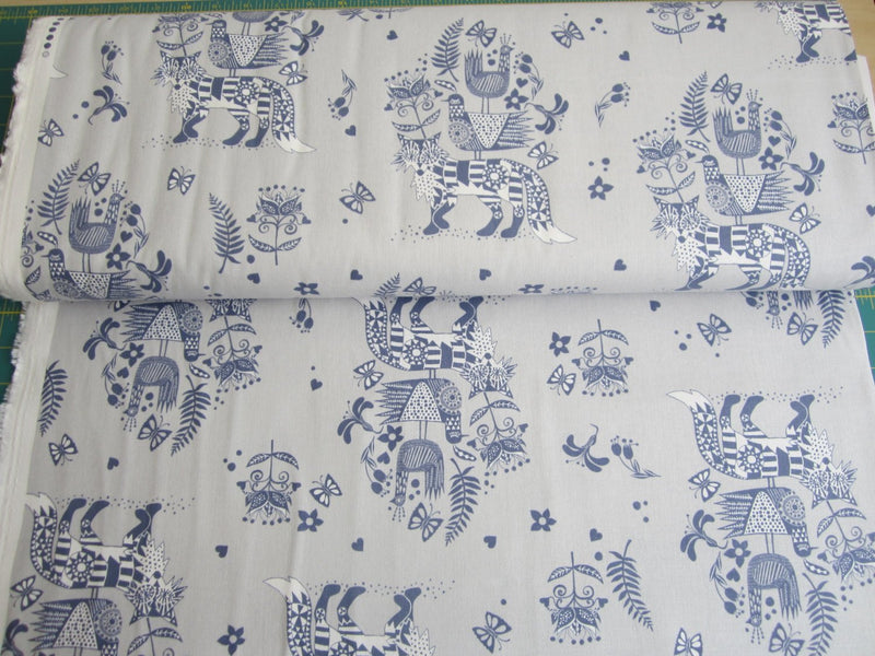 Kokka Japanese fox fabric - Scandinavian Diary - lightweight canvas - 1/2 YD