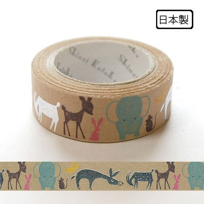 Kawaii Japanese masking tape - kraft paper tape - animals by Shinzi Katoh