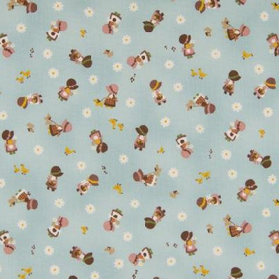 Kawaii Japanese Fabric by Cosmo - Cotton Broadcloth - Country Home in Blue - 1/2 YD
