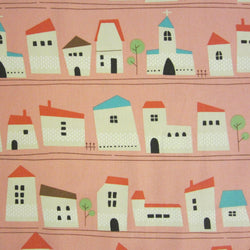 Kokka Japanese fabric - houses in pink - 1/2 YD