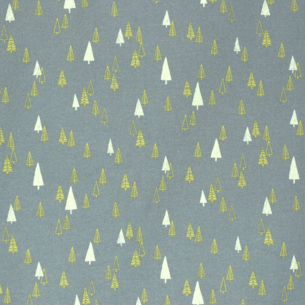 Japanese fabric with Christmas trees by Hokkoh - gray brushed cotton - 1/2 YD
