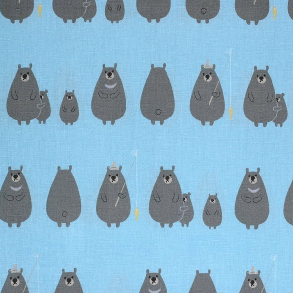 Kiyohara Japanese fabric - kawaii bears in cotton / linen canvas - 1/2 YD