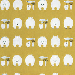 Kiyohara Japanese fabric - kawaii polar bears in cotton / linen canvas - 1/2 YD