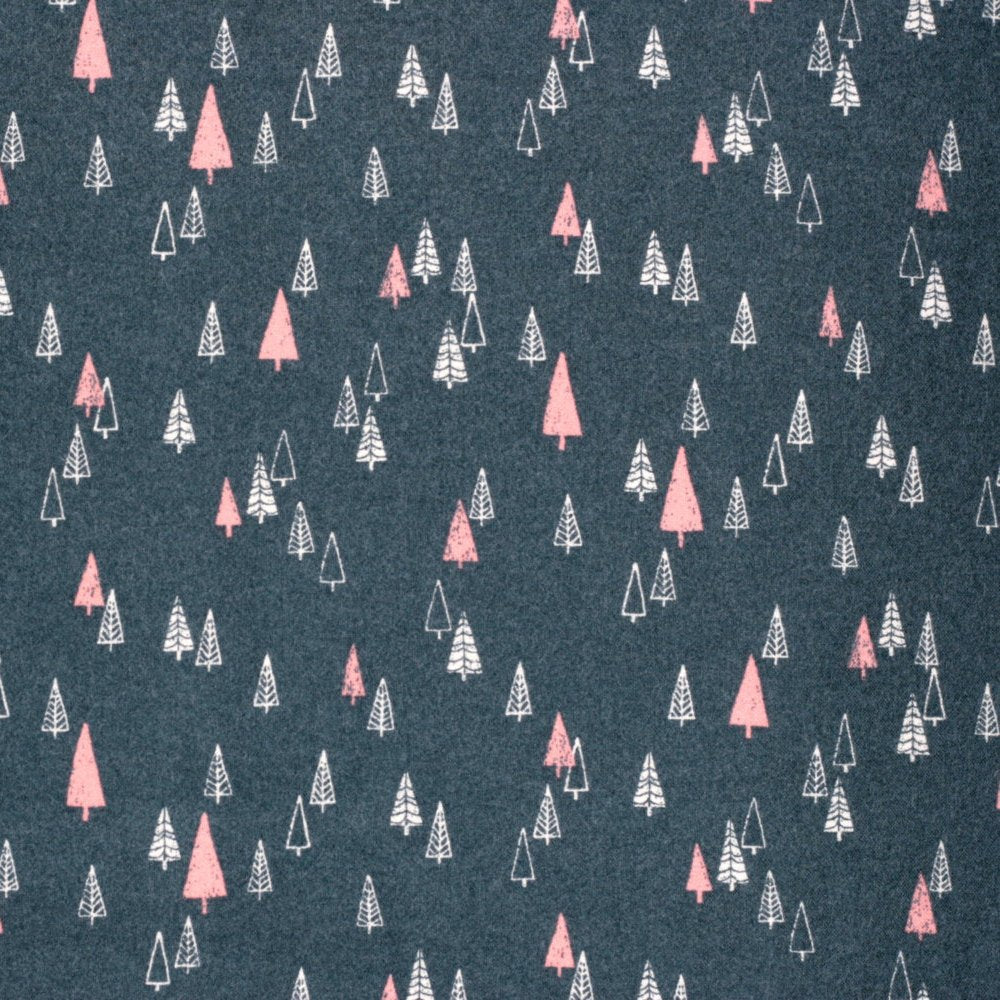 Japanese fabric with Christmas trees by Hokkoh - black brushed cotton - 1/2 YD