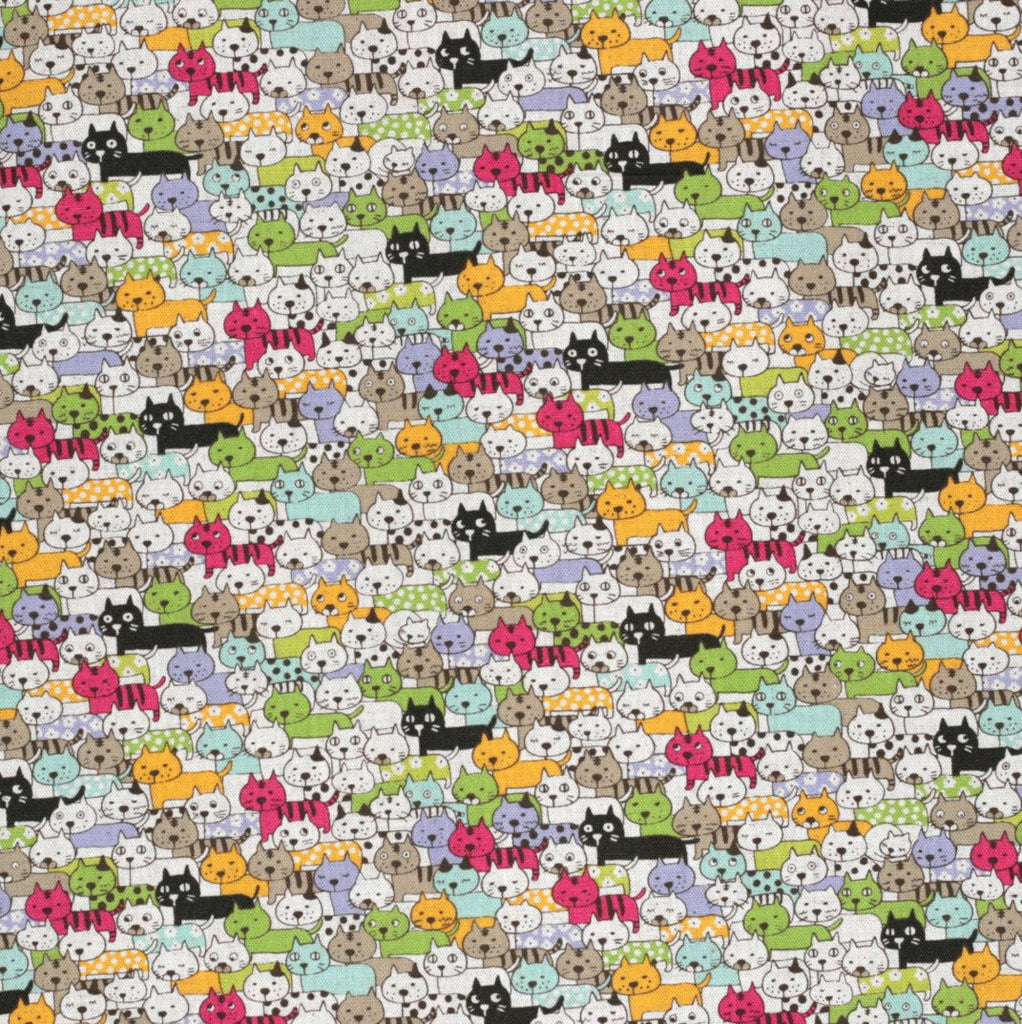 Kawaii Japanese cat fabric in cotton and linen by Kobayashi - 1/2 YD
