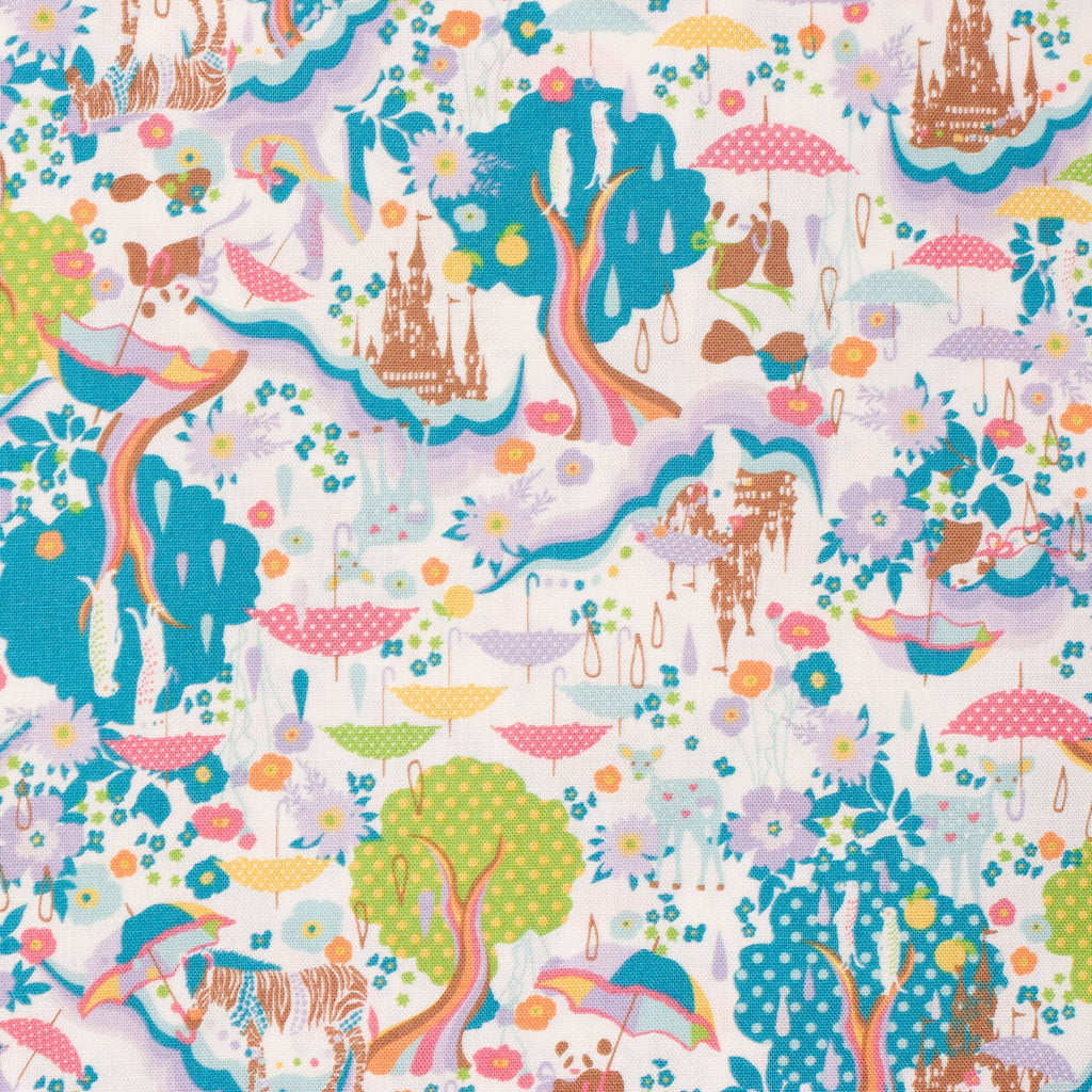 Kawaii Japanese fabric in canvas by Kayo Horaguchi for Kiyohara - 1/2 YD