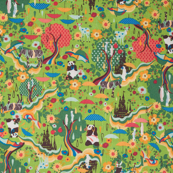 Kawaii Japanese panda fabric in green cotton linen canvas by Kiyohara - 1/2 YD