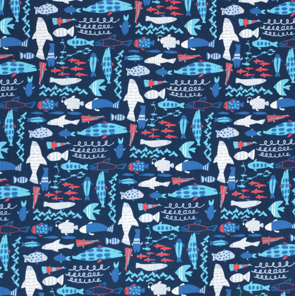 Hokkoh Tahti Japanese fabric - fish in oxford cotton - 1/2 YD