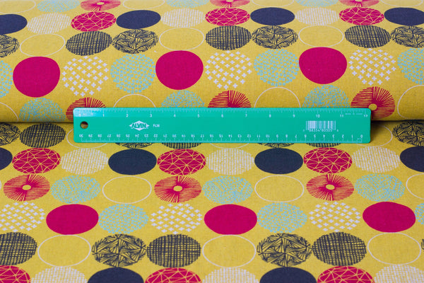 Japanese fabric - geometric polka dot fabric in canvas from Hokkoh - 1/2 YD