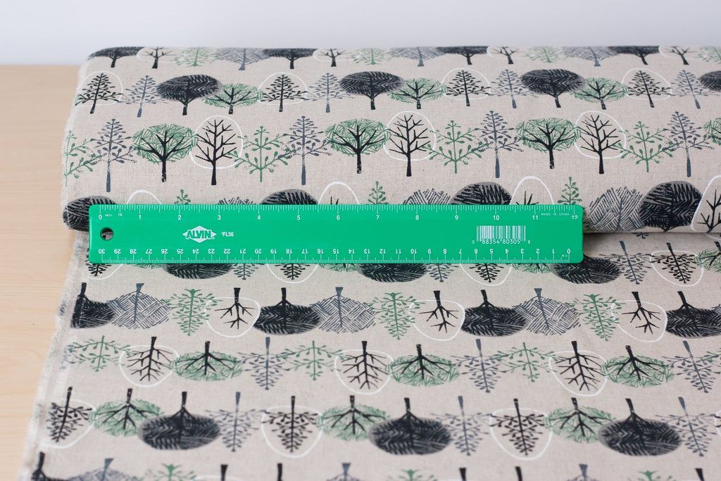 Hokkoh Japanese tree fabric in cotton linen canvas - 1/2 YD
