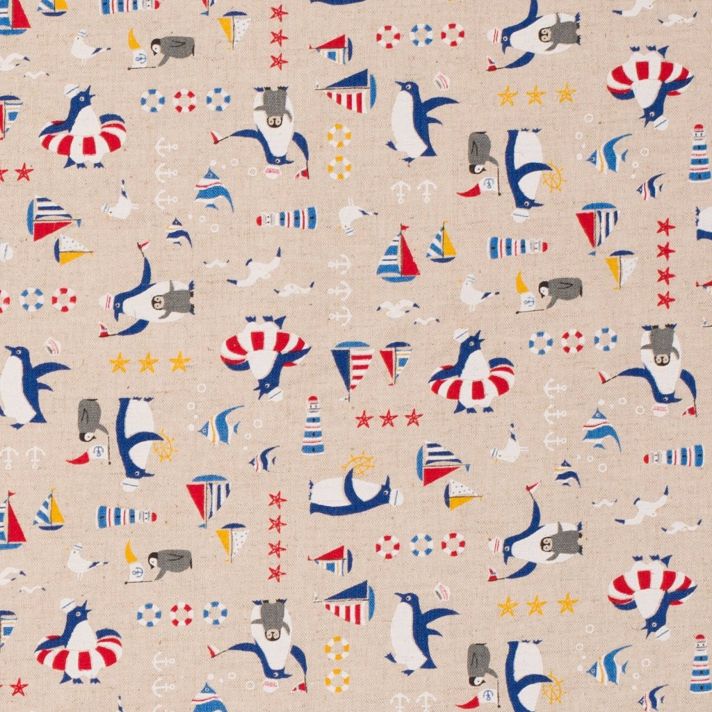Cosmo Japanese fabric - cotton canvas - beach penguins - 1/2 YD