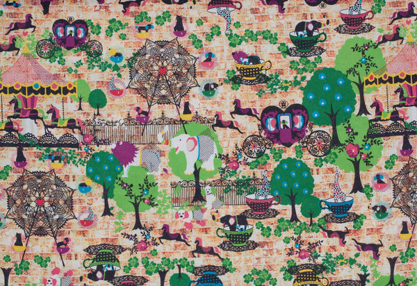 Kawaii Japanese fabric by Kiyohara in cotton / linen canvas - 1/2 YD