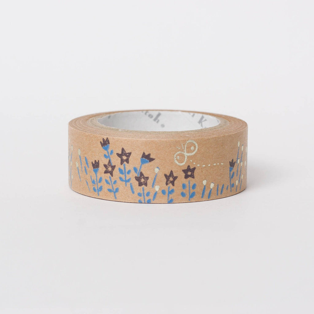 Japanese masking tape in kraft paper - flowers by Shinzi Katoh
