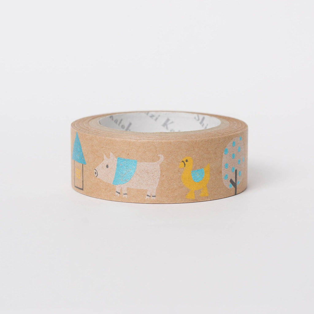 Kawaii Japanese masking tape in kraft paper - farm by Shinzi Katoh
