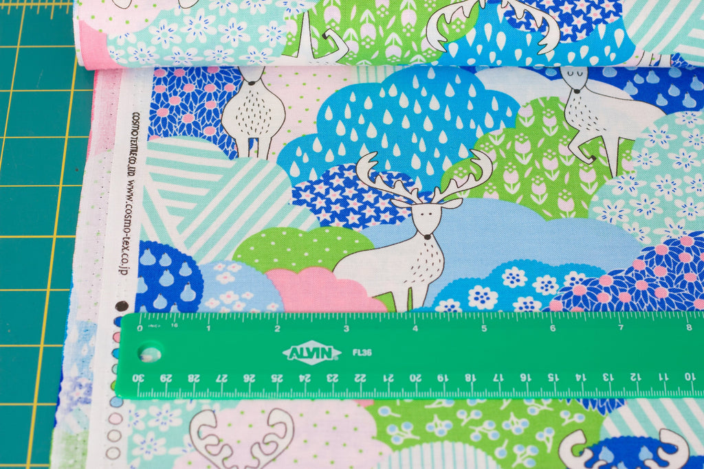Japanese fabric by Cosmo - kawaii deer in cotton sheeting - 1/2 YD