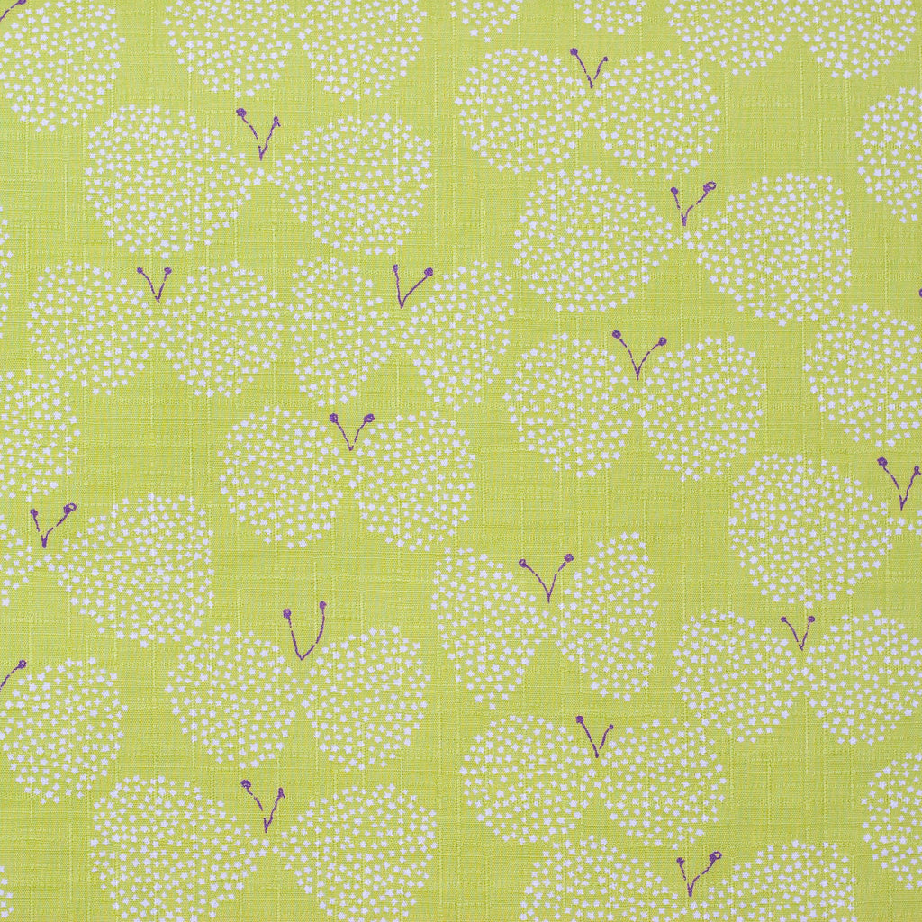 Japanese cotton dobby butterfly fabric in green by Kobayashi - 1/2 YD