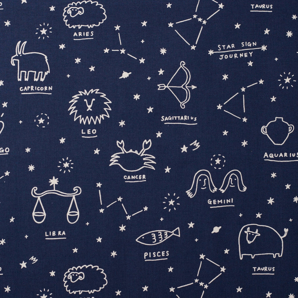 Kokka Star Sign Journey Japanese canvas celestial fabric - 1/2 YD