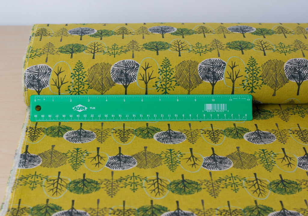 Hokkoh Japanese tree fabric in yellow cotton linen canvas - 1/2 YD