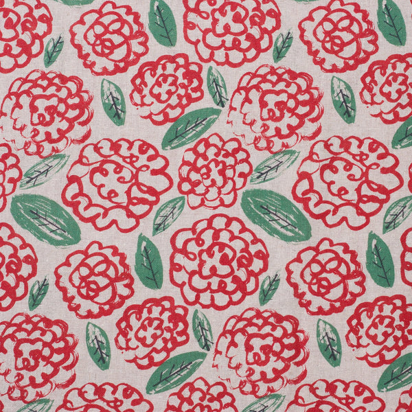 Hokkoh Japanese flower fabric in cotton and linen plain weave - 1/2 YD