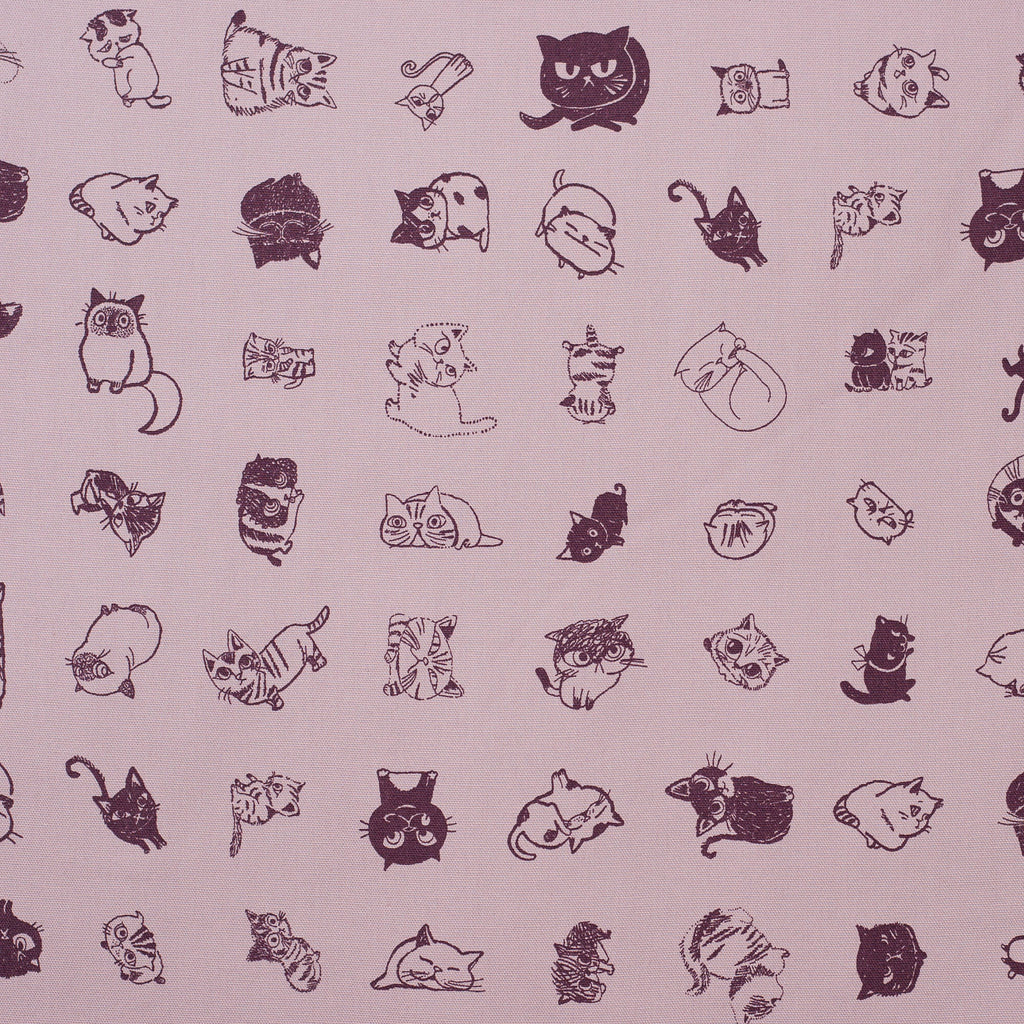 Japanese kawaii cat fabric in purple oxford cotton by Shinzi Katoh - 1/2 YD