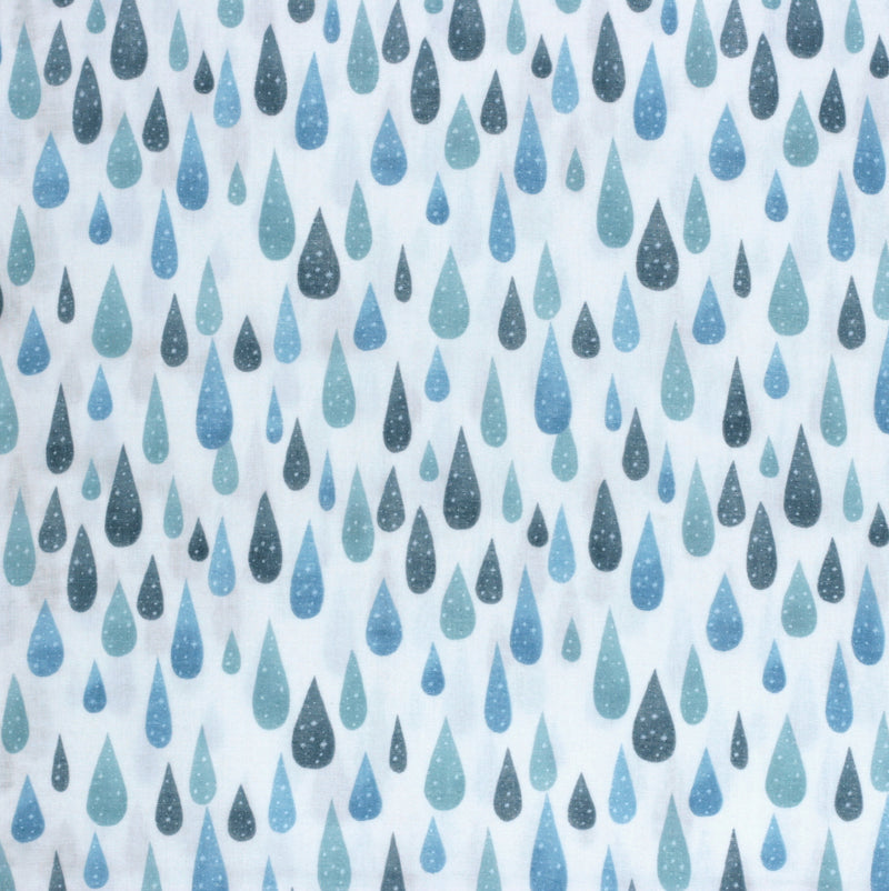 Kokka Trefle Japanese double gauze fabric - icy rain drops - 1/2 YD