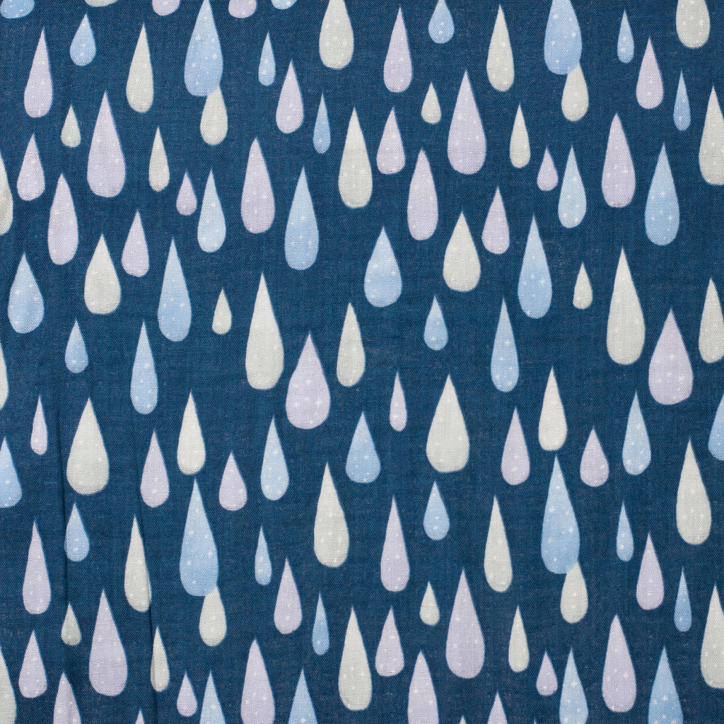 Kokka Trefle Japanese double gauze fabric - blue icy rain drops - 1/2 YD