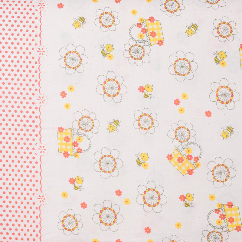Shinzi Katoh | Japanese fabric - kawaii bees - cotton shirting - salmon pink and yellow 1/2 YD