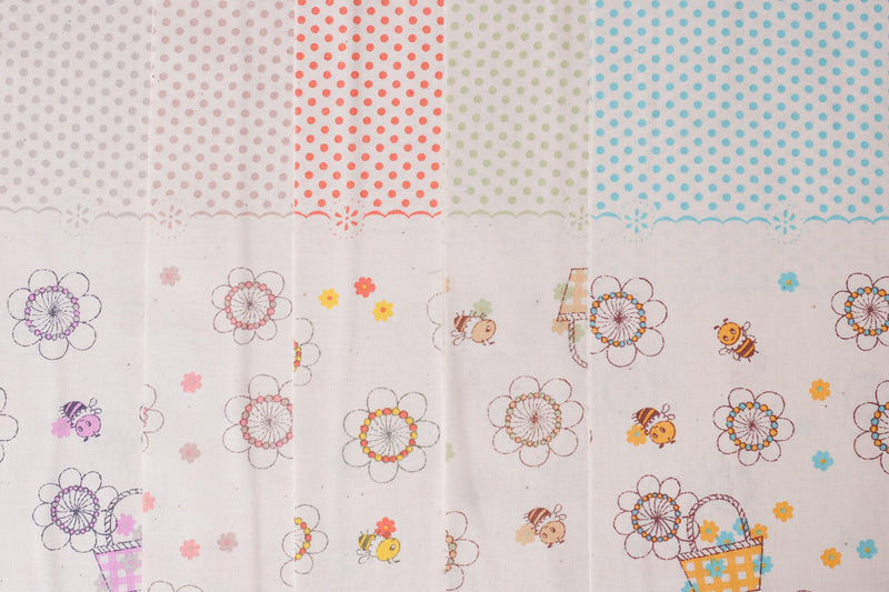 Shinzi Katoh | Japanese fabric - kawaii bees - cotton shirting - green and yellow - 1/2 YD