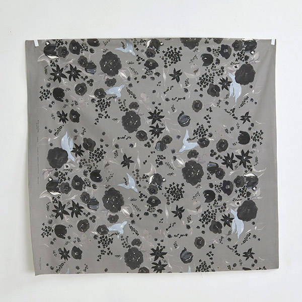 Nani Iro | Japanese fabric - Beau Yin Yang - Cadeau in gray cotton lawn - 1/2 YD