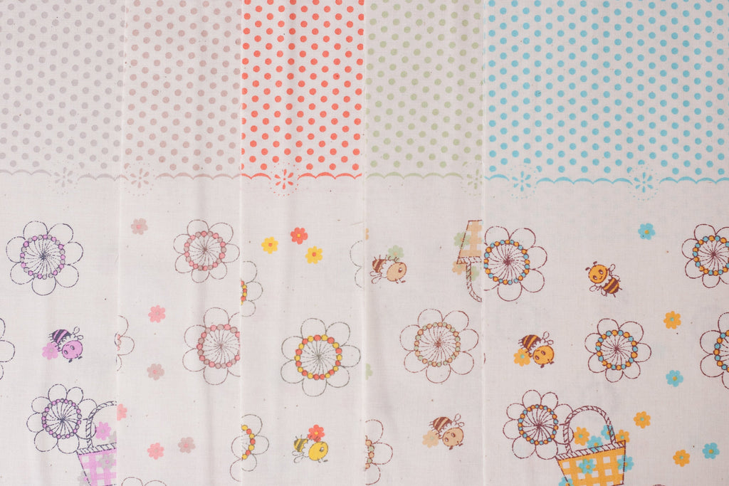 Shinzi Katoh | Japanese fabric - kawaii bees - cotton shirting - blue and yellow - 1/2 YD