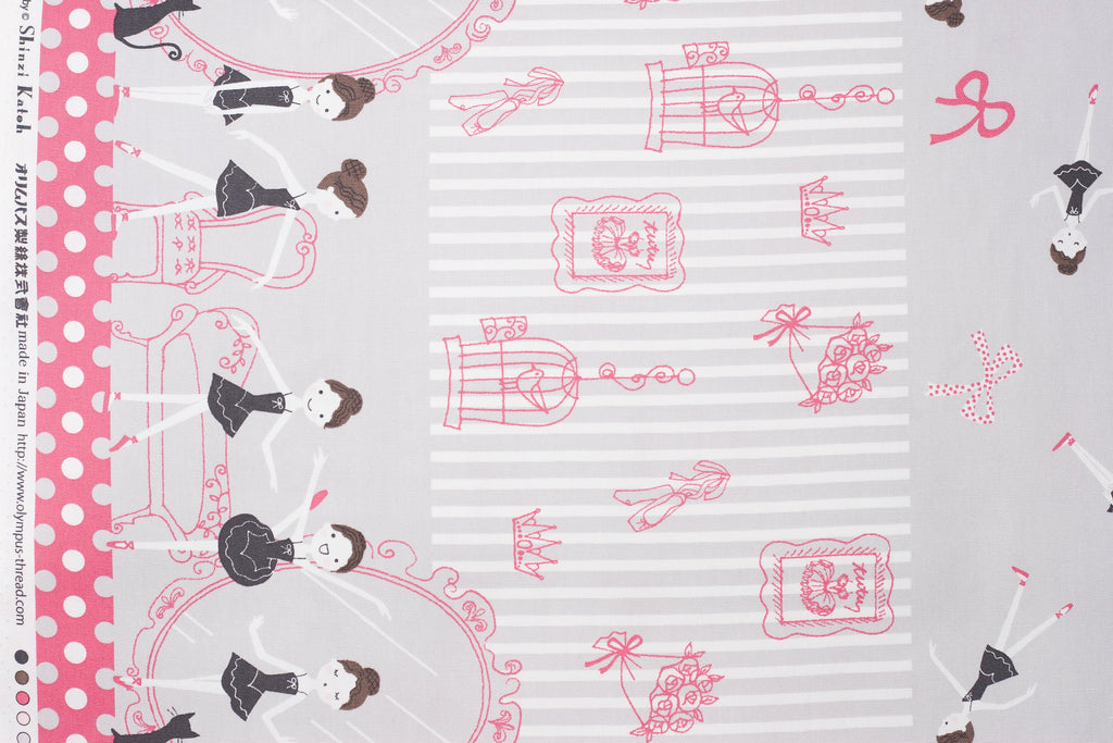 Shinzi Katoh | Japanese fabric - kawaii ballerina fabric - oxford cotton - hot pink and gray - 1/2 YD