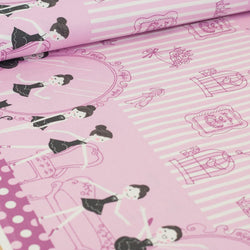 Shinzi Katoh | Japanese fabric - kawaii ballerina fabric - oxford cotton - fuschia - 1/2 YD