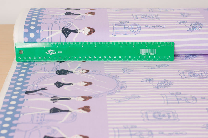 Shinzi Katoh | Japanese fabric - kawaii ballerinas - oxford cotton - purple - 1/2 YD