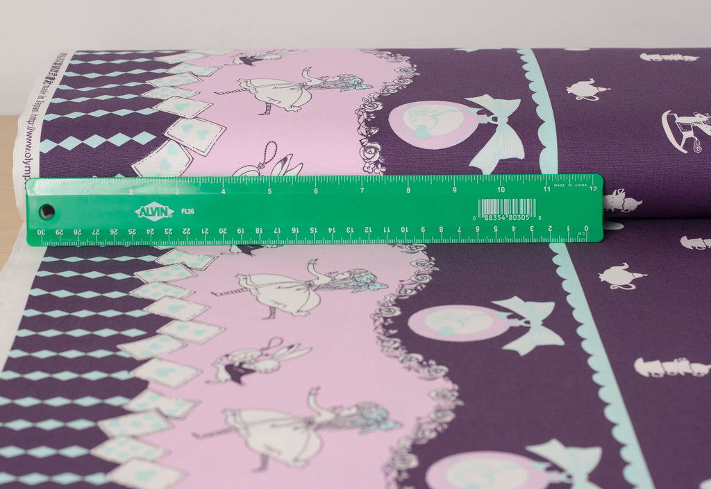 Shinzi Katoh | Japanese fabric - kawaii Usagi Alice - oxford cotton - purple - 1/2 YD