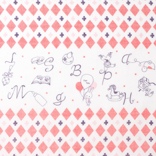 Japanese double gauze fabric by Shinzi Katoh - cotton kawaii fabric - Toys in red - 1/2 YD
