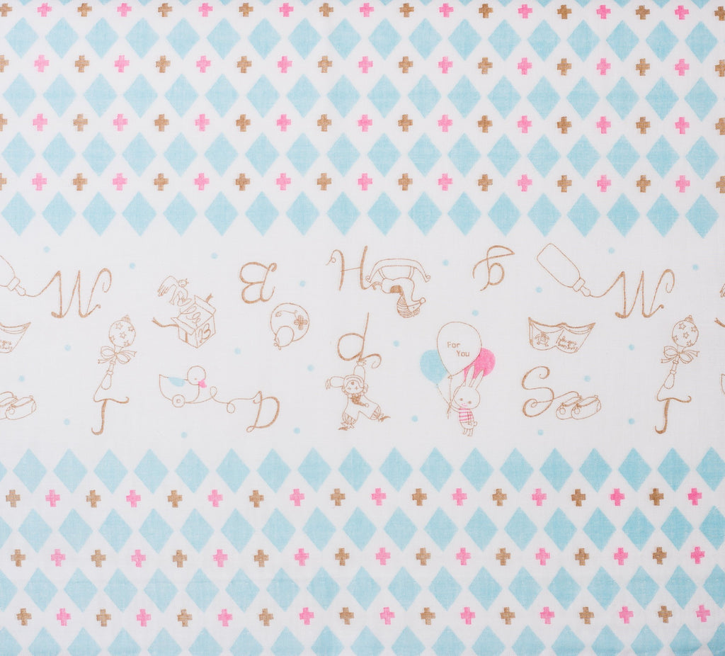 Shinzi Katoh | Japanese double gauze fabric - kawaii fabric - Toys in blue - 1/2 YD