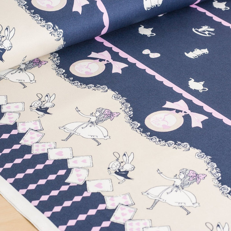 Shinzi Katoh | Japanese fabric - kawaii Usagi Alice - oxford cotton - navy - 1/2 YD