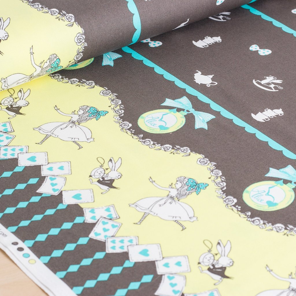 Shinzi Katoh | Japanese fabric - kawaii Usagi Alice - oxford cotton - brown - 1/2 YD