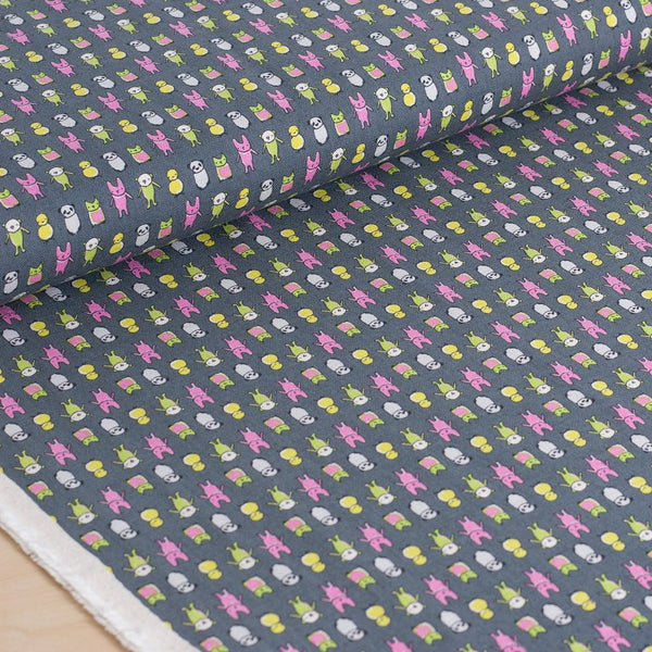 Kokka | Kawaii Japanese fabric - Creative Thursday by Marisa - cotton + linen canvas - 1/2 YD