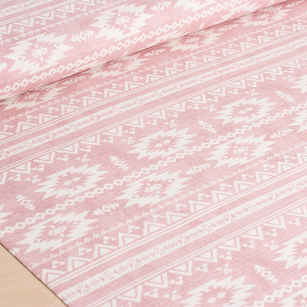 Japanese fabric - Kokka Trefle - pink and off white cotton barkcloth fabric - 1/2 YD