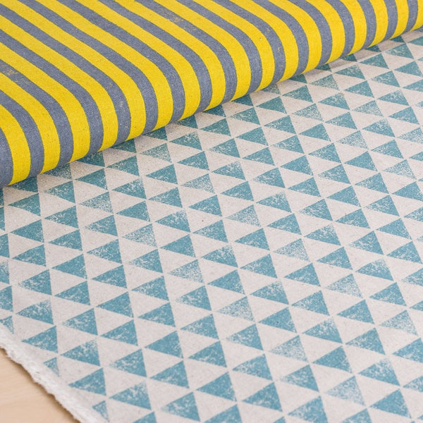 Echino | Japanese fabric - stripes and triangles in yellow and teal - 1/2 YD
