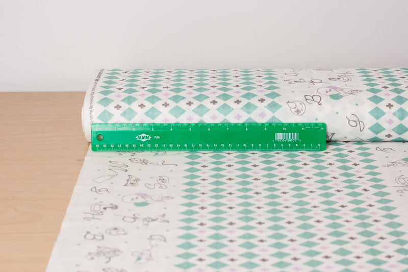 Japanese double gauze fabric by Shinzi Katoh - cotton kawaii fabric - Toys in green - 1/2 YD