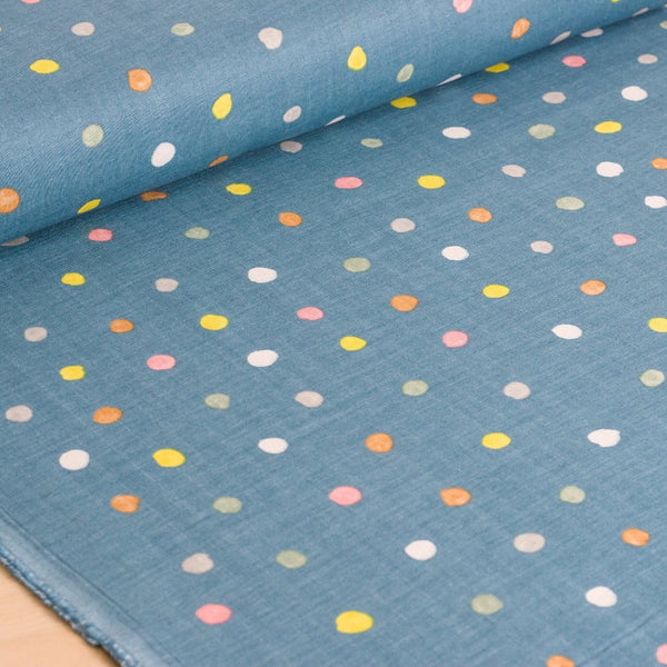 nani IRO | Japanese fabric - Colorful Pocho - Rivage - cotton double gauze polka dots - 1/2 YD