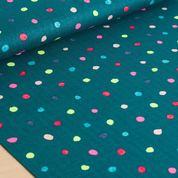 nani IRO | Japanese fabric - Colorful Pocho - Opera - cotton double gauze polka dots - 1/2 YD