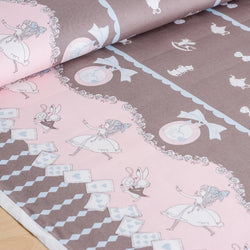 Shinzi Katoh | Japanese fabric - kawaii Usagi Alice - oxford cotton - gray - 1/2 YD